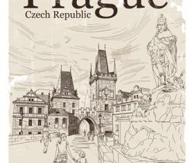 Czech republic prague retro vector