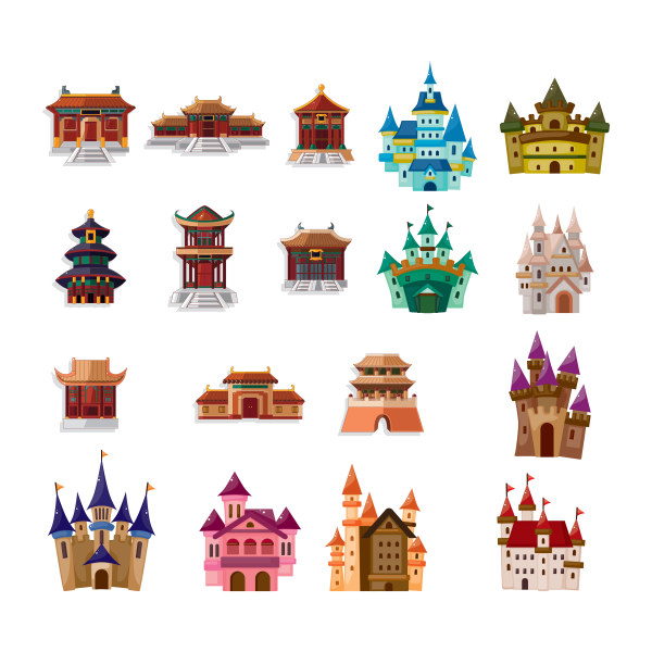 Different colored castle vector