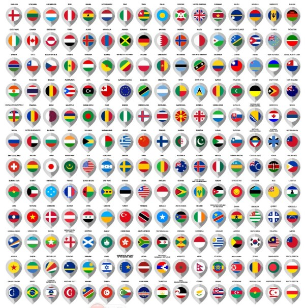 Different countries flags icons
