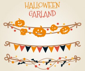 Different halloween garland vector material