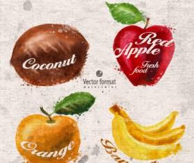Drawn watercolor fruits vector design set 04