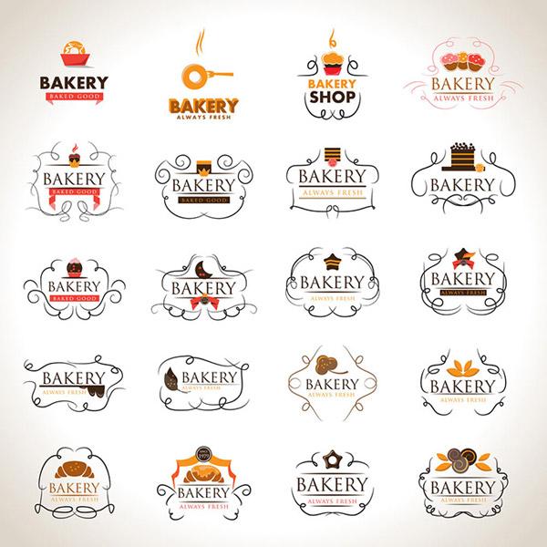 Elegant bakery labels design elements vector
