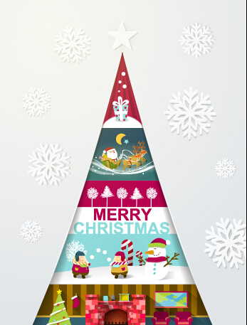 Elegant christmas tree holiday background vector 02
