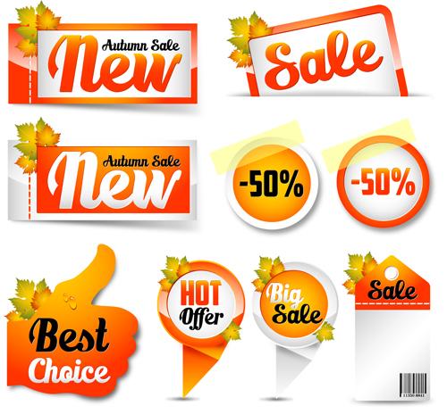 Exquisite autumn discounts sticker vector material 01