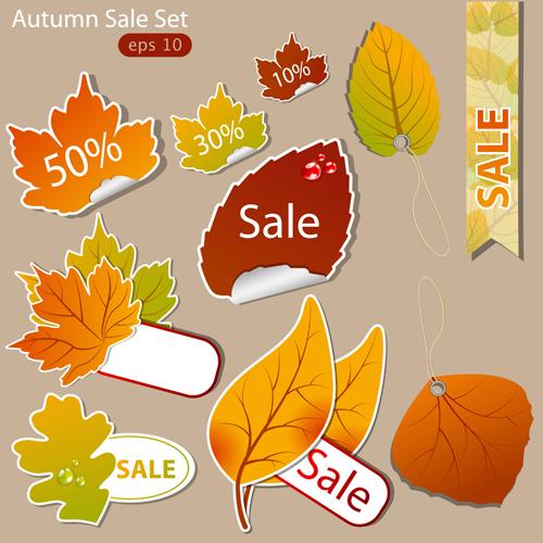 Exquisite autumn discounts sticker vector material 02