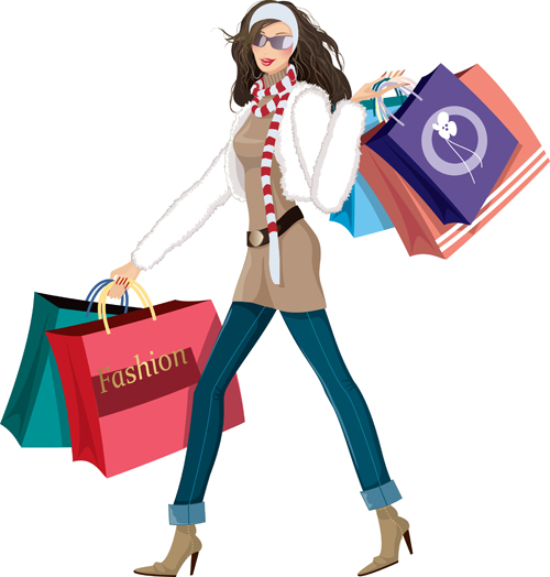 fashion shopping girls vector material set 09 free download rh freedesignfile com shopping victoria texas shopping victor ny