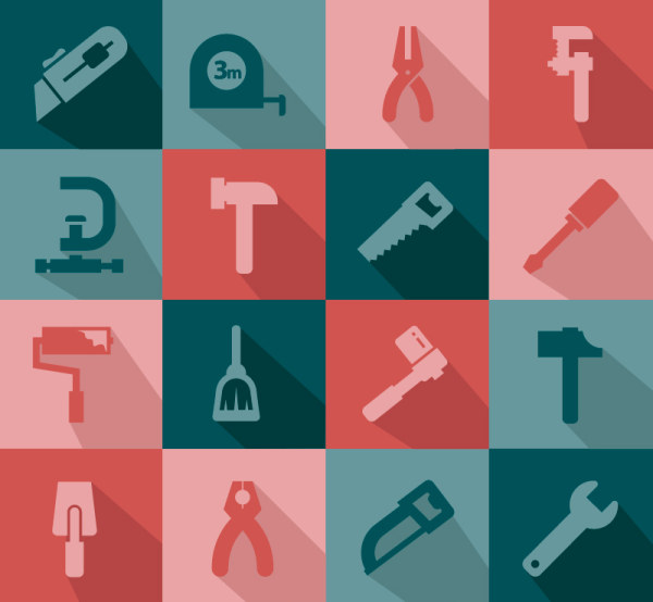 Flat life tool icons vector