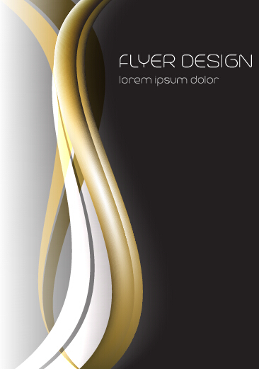 Dynamic lines flyer cover vector set 07