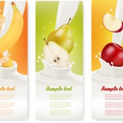 Link toFruit milk advertising banner vector graphics 03