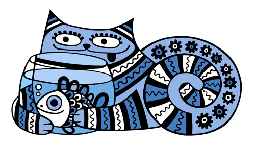 Funny Floral Pattern Cats Vector Material 02