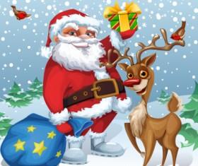 Funny santa and reindeer vector material 01