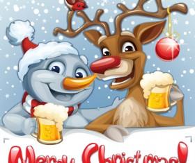 Funny santa and reindeer vector material 02