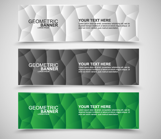 Geometric polygonal banners free vector