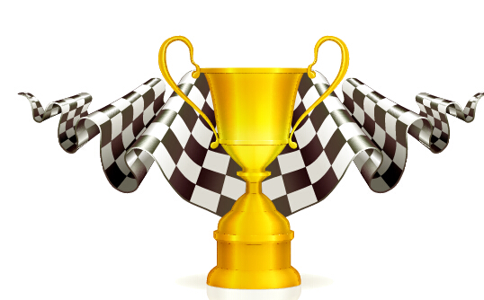 Gold trophy with flag vector