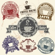 Link toGrunge coffee logo with labels vector graphic