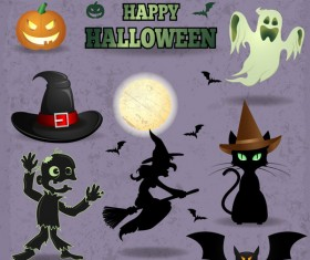 Halloween elements illustration vector set