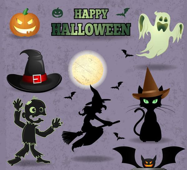 Halloween elements illustration vector set