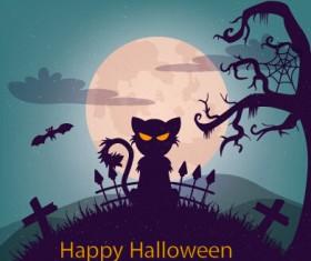 Halloween horror night vector background 01