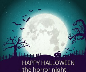 Halloween horror night vector background 02