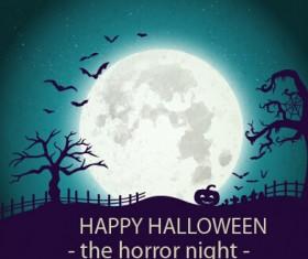 Halloween horror night vector background 02