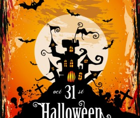 Halloween horror party poster vector 01