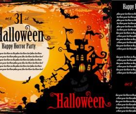 Halloween horror party poster vector 03