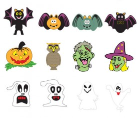 Halloween ornament icons vector material 01