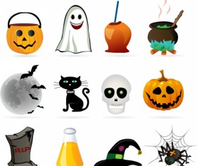 Halloween ornament icons vector material 02