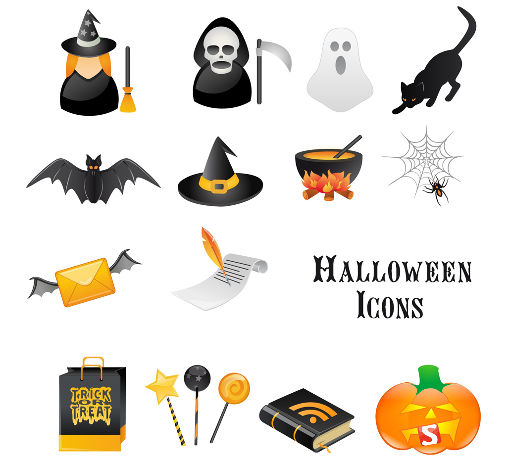Halloween ornament icons vector material 03