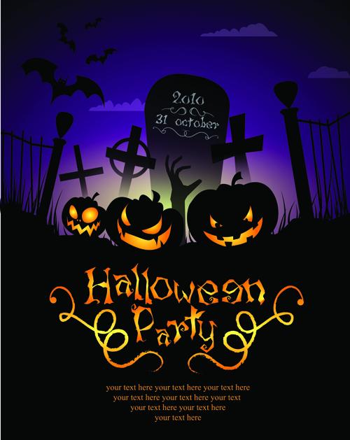 Halloween Party Flyer Cover Pumpkin Vector 02 Free Download
