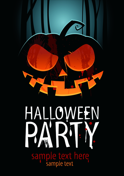 Halloween Party Flyer Cover Pumpkin Vector 03 - Vector Cover