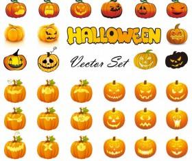 Halloween pumpkins mixed icons vector 01