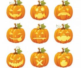 Halloween pumpkins mixed icons vector 02