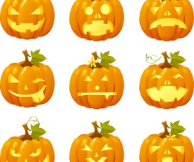 Halloween pumpkins mixed icons vector 03