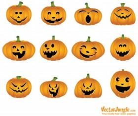 Halloween pumpkins mixed icons vector 04