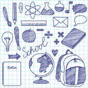 Link toHand drawing blue school elements vector