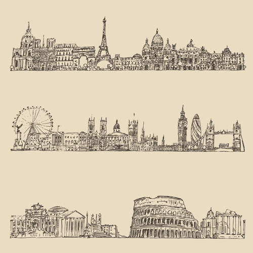 Hand drawing city retro background vector 01