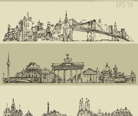Hand drawing city retro background vector 02