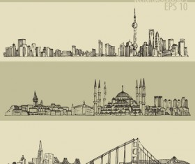 Hand drawing city retro background vector 03