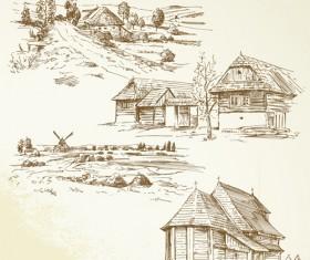 Hand drawn autumn farm vector design 02