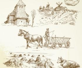 Hand drawn autumn farm vector design 03