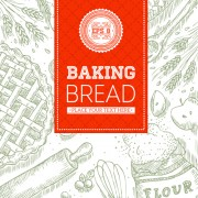 Link toHand drawn baking bread background vector 02
