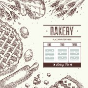 Link toHand drawn baking bread background vector 03