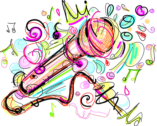 hand drawn colored musical instruments vector 04 free download