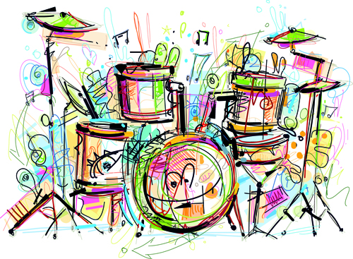 Hand Drawn Colored Musical Instruments Vector 05 Vector