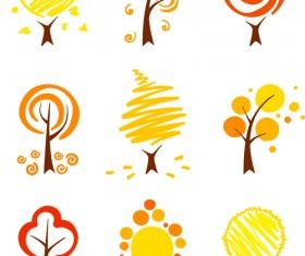 Hand drawn cute autumn tree vector