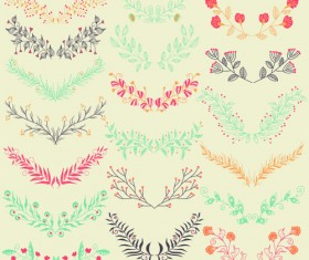 Hand drawn floral frame with border vector 04