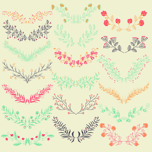 Hand drawn floral frame with border vector 04 free download