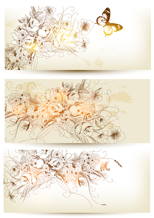 Hand drawn floral with butterflies vector banner