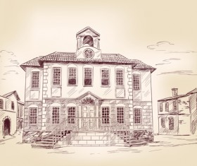 Hand drawn old town vector material set 02